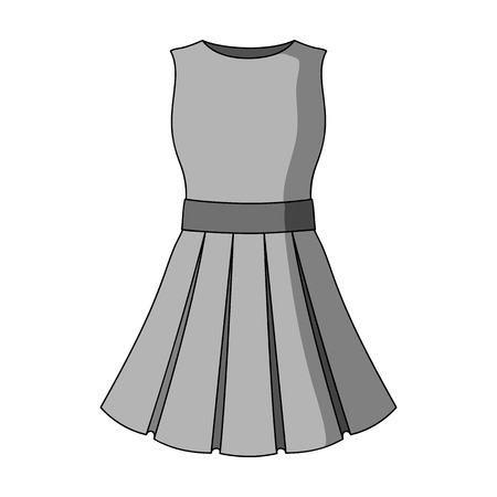 Beautiful light pink summer dress without sleeves. Clothing for a hike to the beach.Women clothing single icon in monochrome style vector symbol stock illustration.