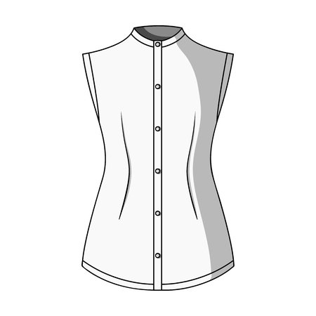gir: Beige button-down shirt without sleeves for the girl. Casual dress style.Women clothing single icon in monochrome style vector symbol stock illustration.