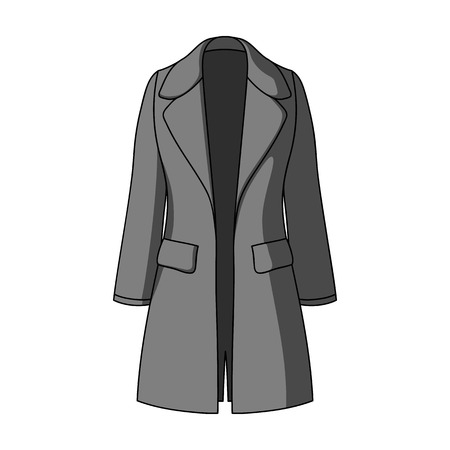 Blue female restrained coat buttoned. Women s outerwear..Women clothing single icon in monochrome style vector symbol stock illustration.