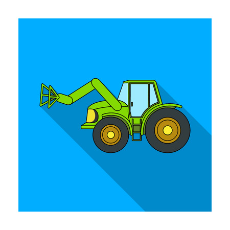 Combine with long hydraulic legs to capture the hay.Agricultural Machinery single icon in flat style vector symbol stock illustration. Illustration