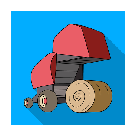 Round hay bales. Modern agricultural machinery for  of hay and rolling circles.Agricultural Machinery single icon in flat style vector symbol stock illustration.