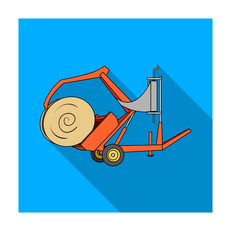 Modern agricultural machinery for  of hay and rolling circles.Agricultural Machinery single icon in flat style vector symbol stock illustration. Illustration