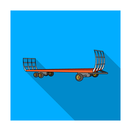 Specialized trailer on wheels for trucks for transportation of hay bales.Agricultural Machinery single icon in flat style vector symbol stock illustration.