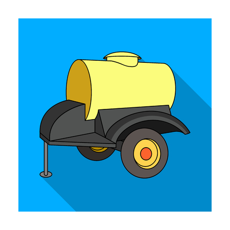 Black trailer on wheels with yellow barrel. Agricultural machinery for watering plants.Agricultural Machinery single icon in flat style vector symbol stock illustration. Illustration