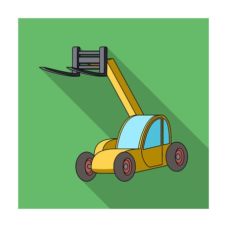 The car lift for loading cargo into the truck for transportation.Agricultural Machinery single icon in flat style vector symbol stock illustration. Vettoriali