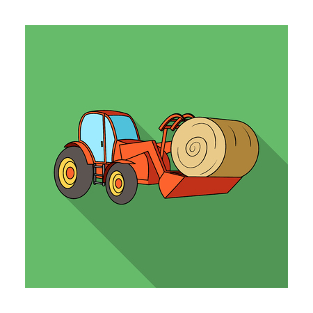 Orange tractor with a ladle transporting hay bale. Agricultural vehicles.Agricultural Machinery single icon in flat style vector symbol stock illustration. Illustration