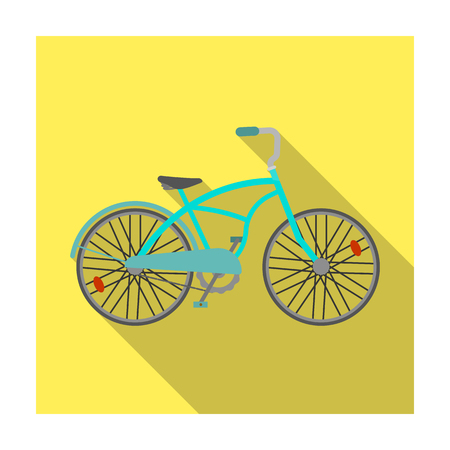 a two wheeled vehicle: Blue two-wheeled bicycle for a ride through the city. Pleasure of transport.Different Bicycle single icon in flat style vector symbol stock illustration. Illustration