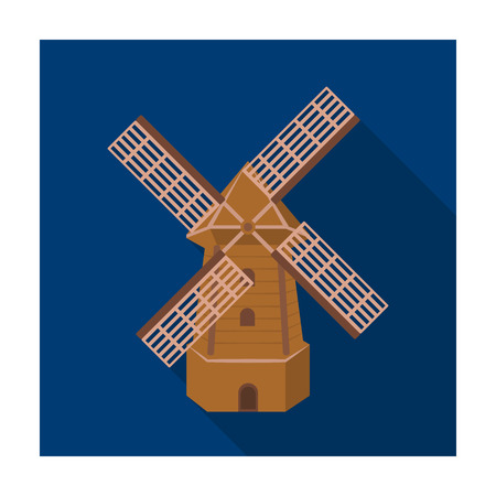 Rural wooden mill. Mill for grinding grain into flour.Farm and gardening single icon in flat style vector symbol stock illustration. Illustration