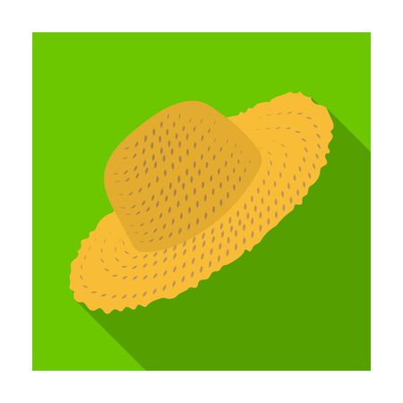Straw hat for gardener. Headpiece for protection of the sun.Farm and gardening single icon in flat style vector symbol stock illustration. Illustration