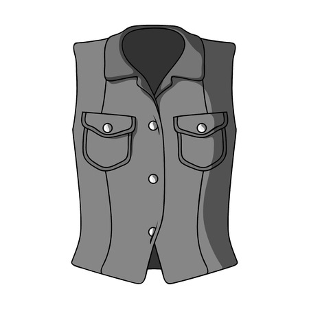 Women Sleeveless Sports Jacket .Beige button-down shirt without sleeves for the girl. Sport dress style.Women clothing single icon in monochrome style vector symbol stock illustration.
