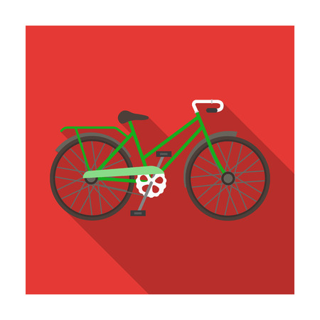 spoke: Green female bicycle frame with a scythe.Different Bicycle single icon in flat style vector symbol stock illustration. Illustration
