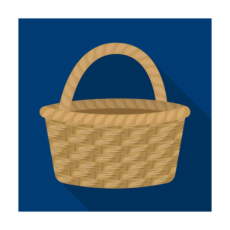 craft product: Straw basket for carrying fruits and vegetables in the village.Farm and gardening single icon in flat style vector symbol stock illustration.