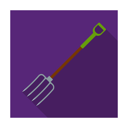 Metal garden forks with plastic handle for working with hay.Farm and gardening single icon in flat style vector symbol stock illustration. Illustration