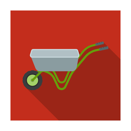 Hand truck with one wheel. Wheelbarrow for the transportation of goods around the garden.Farm and gardening single icon in flat style vector symbol stock illustration.