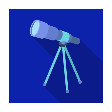 Telescope for schools. Device for astronomy. Device for inspection of the stars.School And Education single icon in flat style vector symbol stock illustration. Illustration