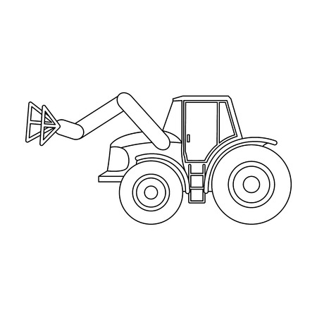 Combine with long hydraulic legs to capture the hay.Agricultural Machinery single icon in outline style vector symbol stock illustration.