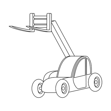 fork lifts trucks: The car lift for loading cargo into the truck for transportation.Agricultural Machinery single icon in outline style vector symbol stock illustration.