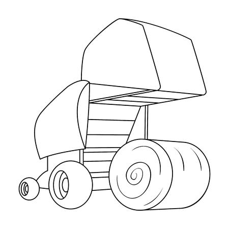 라운드 건초 bales. 건초 및 롤링 circles.Agricultural 기계 현대 농업 기계 개요 스타일 벡터 아이콘 재고 일러스트에서 단일 아이콘입니다. 일러스트