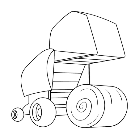 Round hay bales. Modern agricultural machinery for  of hay and rolling circles.Agricultural Machinery single icon in outline style vector symbol stock illustration. Illustration