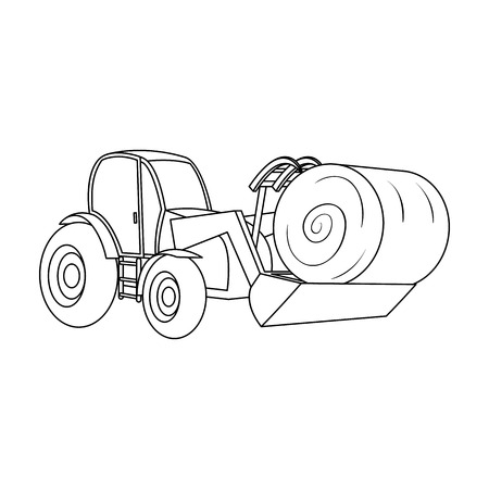 Orange tractor with a ladle transporting hay bale. Agricultural vehicles.Agricultural Machinery single icon in outline style vector symbol stock illustration.