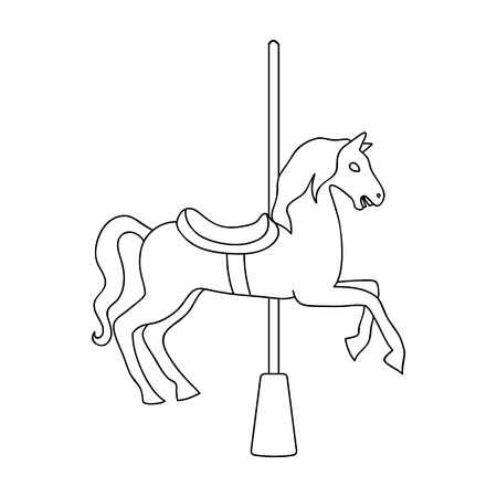 Carousel for children. Horse on the pole for riding.Amusement park single icon in outline style vector symbol stock web illustration.