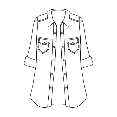 Green Women s jacket with buttons and short sleeves. Casual wear for the stylish woman.Women clothing single icon in outline style vector symbol stock web illustration. Illustration