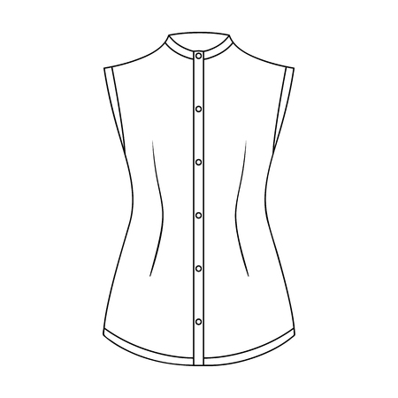 gir: Beige button-down shirt without sleeves for the girl. Casual dress style.Women clothing single icon in outline style vector symbol stock web illustration.