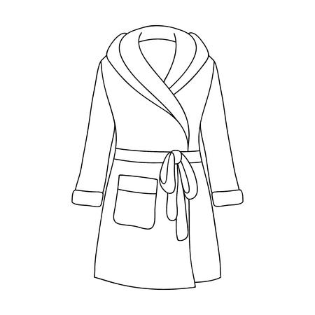 Robe de femme verte après le bain. Vêtements maison pour les femmes. Femme vêtement unique icône en forme de contour vecteur symbole vecteur stock web illustration. Vecteurs