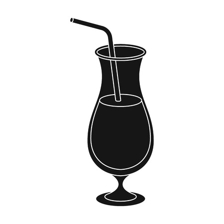 A cocktail in a glass with a straw. Drink for playing in the casino.Kasino single icon in black style vector symbol stock illustration. Illustration