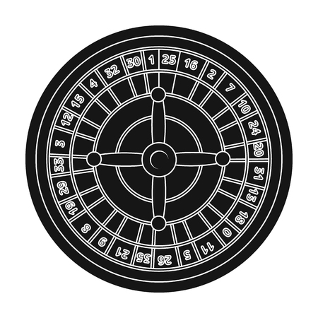 wheel of fortune: Roulette with red and black cells. The most popular casino game in the world.Kasino single icon in black style vector symbol stock illustration. Illustration