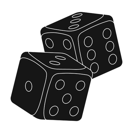 Dice for games in the casino. Stones to throw on the table for good luck.Kasino single icon in black style vector symbol stock illustration.