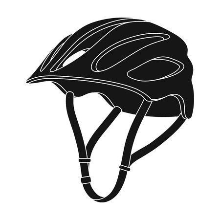 Protective helmet for cyclists. Protection for the head athletes.Cyclist outfit single icon in black style vector symbol stock illustration.