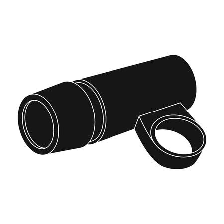 and he shines: A flashlight that clings to the steering wheel to illuminate the road.Cyclist outfit single icon in black style vector symbol stock illustration.