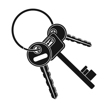lock symbol: A bunch of keys from the cells in the prison. Keys for opening criminals.Prison single icon in black style vector symbol stock illustration.