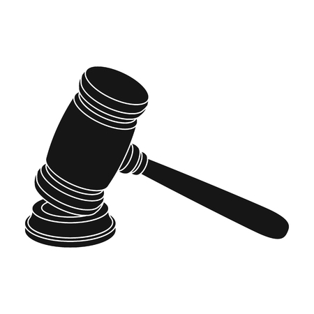Judge wooden hammer. Hammer for deducing the verdict to the criminal.Prison single icon in black style vector symbol stock illustration. Illustration