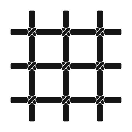 female prisoner: Lattice in the cell of the prisoner. A metal door to hold criminals.Prison single icon in black style vector symbol stock illustration.