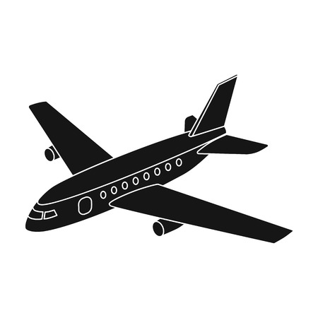 Aircraft for transportation of a large number of people. The safest air transport.Transport single icon in black style vector symbol stock illustration.