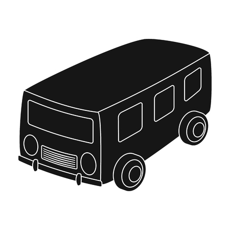 small group of objects: Blue bus for the transportation of a small number of people around the city and the village.Transport single icon in black style vector symbol stock illustration.