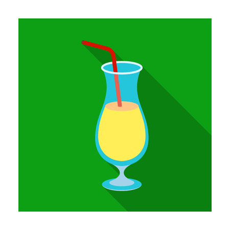 A cocktail in a glass with a straw. Drink for playing in the casino.Kasino single icon in flat style vector symbol stock illustration. Illustration