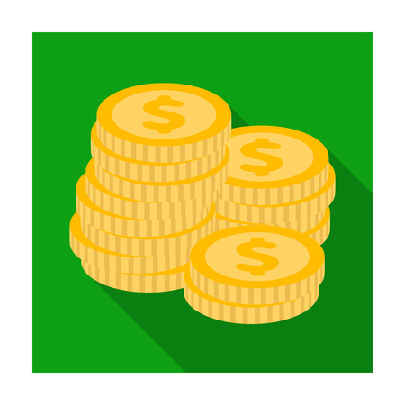 reckoning: A pile of coins for reckoning in a casino. Gambling.Kasino single icon in flat style vector symbol stock illustration. Illustration