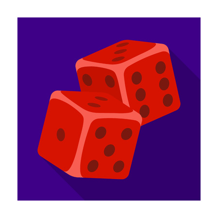 Dice for games in the casino. Stones to throw on the table for good luck.Kasino single icon in flat style vector symbol stock illustration.