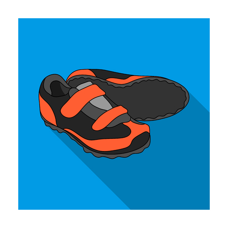 coupling: Shoes for cyclists. Special cycling for cycling.Cyclist outfit single icon in flat style vector symbol stock illustration.