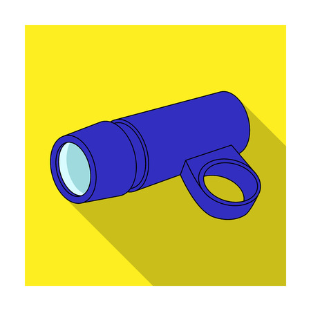 A flashlight that clings to the steering wheel to illuminate the road.Cyclist outfit single icon in flat style vector symbol stock illustration.