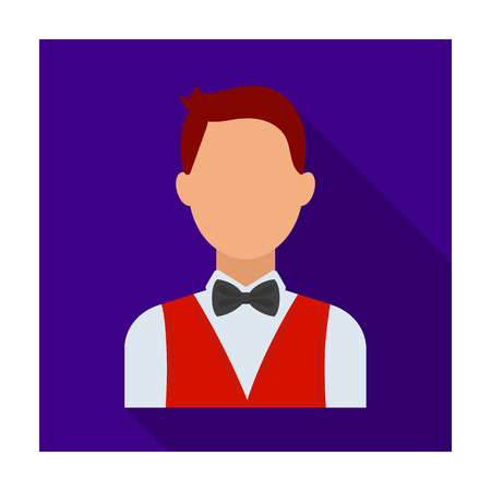 The man in a suit. The croupier, the person who follows the game in the casino.Kasino single icon in flat style vector symbol stock illustration. Illustration