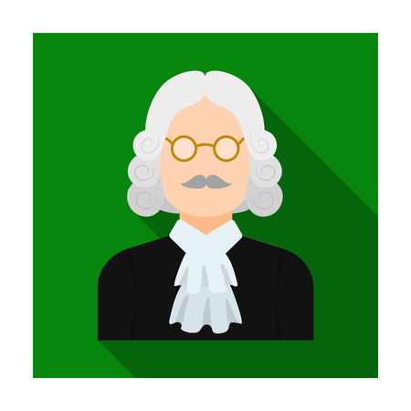 A judge in a wig and glasses. A person who makes a verdict to a criminal.Prison single icon in flat style vector symbol stock illustration.