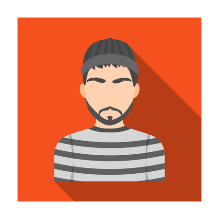 Prisoner in the prison robe. The offender is punished.Prison single icon in flat style vector symbol stock illustration.