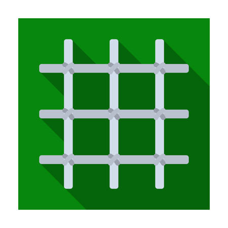 female prisoner: Lattice in the cell of the prisoner. A metal door to hold criminals.Prison single icon in flat style vector symbol stock illustration.