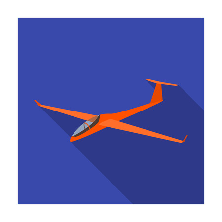 The orange fighter. High speed airplane for one person.Transport single icon in flat style vector symbol stock illustration.
