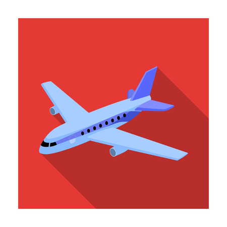 Aircraft for transportation of a large number of people. The safest air transport.Transport single icon in flat style vector symbol stock illustration. Illustration