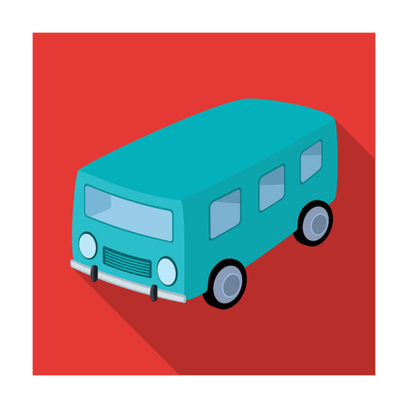 small group of objects: Blue bus for the transportation of a small number of people around the city and the village.Transport single icon in flat style vector symbol stock illustration. Illustration